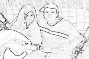 My Baby and I Sketched in BW by SatanicNeo