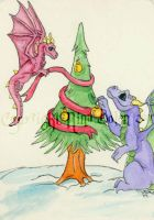 Decorating the Tree ACEO by The-GoblinQueen
