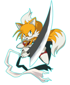 Tails with Zangetsu by LadyGT