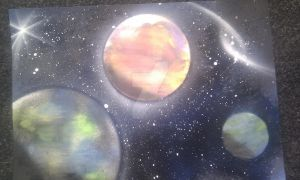 Space Panting - Spray paint/Street art. by Runningboxdesign