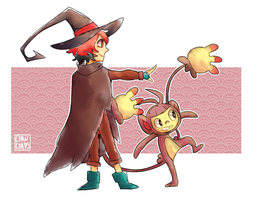 Witchsona and ambipom  by ShounenRaccoon