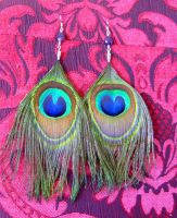 Peacock and amethyst earrings by indigartistic