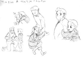 Tintin and Tintin-Lutin by TheFrenchGal