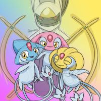 Lake Trio and Arceus by skeletall