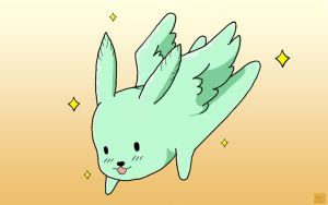 Flying Mint Bunny by blueoceaneyes101
