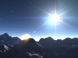 Starry Snowcapped Mountains by crazyllama