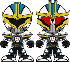 Chibi Kamen Rider IXA - Save and Burst Modes by Zeltrax987