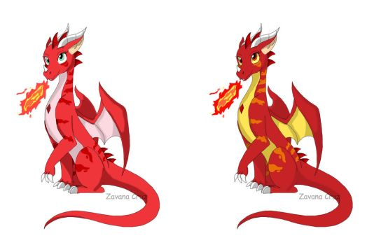 Dragon in different color by ZanyComics