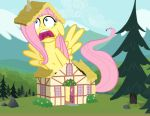Fluttershy grows though the roof by OceanRailroader