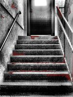 bloody stairs with door by Moon-WillowStock
