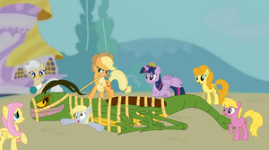 Applejack And The Ponies Have The Mantis Tied Up by Zacharygoblin55