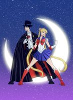 Sailor Moon and Tuxedo Mask by gadgetwk