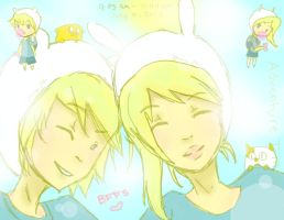 finn and fionna BFFs (AT fanart c:) by iCookieChan
