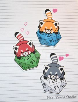 Chibi Red Panda on d20 Stickers and Magnets by pixelboundstudios