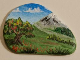 Apple tree and a mountain - rock painting by Annamoon77