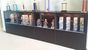 my ceramic figures on display at the college. by ownerfate