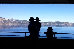 Silhouettes at Crater Lake by MogieG123
