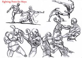 fighting poses for maya03 by AlexBaxtheDarkSide