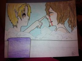 BEN and Sally int the tub by OhaiDevyn