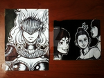 Sketches on pieces of paper by Angy89
