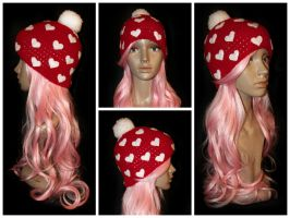 Be Mine Valentines Day Beanie by rainbowdreamfactory