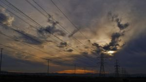 Power line sunset by Serioskrt