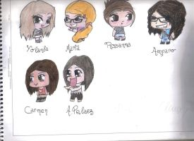Me and some of my friends (chibi way) by LauraChisbert
