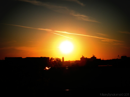 Sunset over the city by MiserySyndromex3