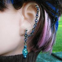 Ocean Cartilage Chain Earring by merigreenleaf