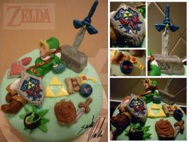 LoZelda Birthday Cake by Katzel