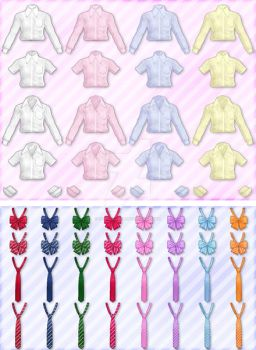 mmd shirts+ties+ribbons pack dl by sakura-nice