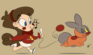 Mabel taking Tepig on a Walk by ojcartoons