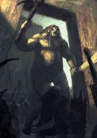 Orcs And Giant - sketch by Cloister