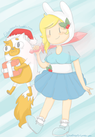 Winter Holiday Fionna and Cake by EchoHearts