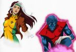Rogue and Nightcrawler by RV1994 by carol-colors