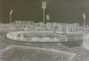 Drawing - (Negative) Panorama Of The City Stadium by eduaarti