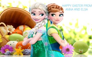 Happy Easter From Anna And Elsa by GreyKittens