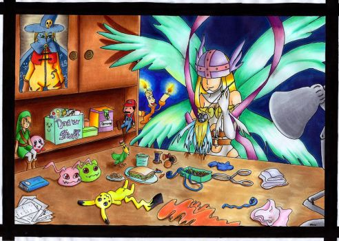 Sewing Angewomon by Wyvernfang
