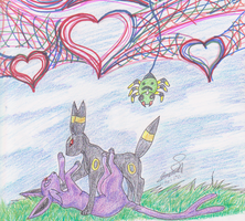 Umbreon and Espeon Love Scene by enyce122