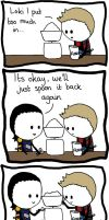 Loki and Hawkeye 'Spooning' by IsleOfTwoMoons