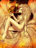 Ninetales Anthro- Tamer of the Burning Isles(edid) by IndI-Art
