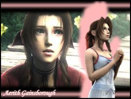 FFVII:CC - Aerith wallpaper by Orga-Kuttie-Tarka