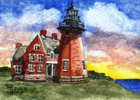 Block Island Lighthouse ACEO by frizz-art