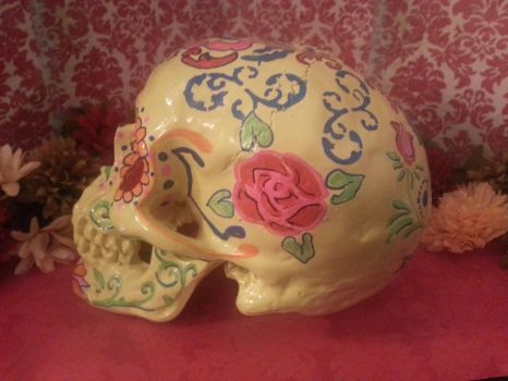 Yellow Dia de los Muertos Skull by Design-reality