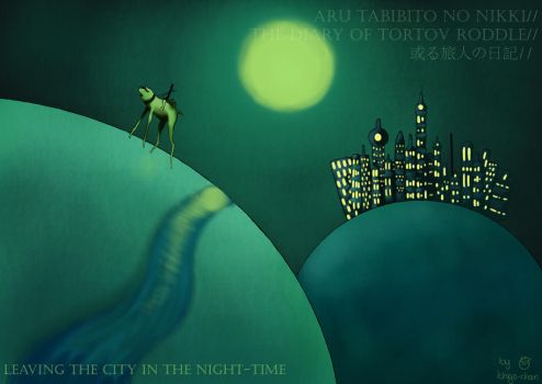 Leaving the city in the night by VanillaChii