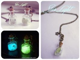 Glowing Star light Glass Bottle Necklace, by Bea-Gonzalez
