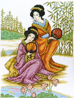 Beautiful Japanese girls cross stitch embroidery by YANKA-arts-n-crafts