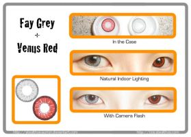 EOS Fay Grey + Venus Eye Red contact lenses by Stealthos-Aurion