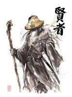 Gandalf Samurai sumi style with calligraphy by MyCKs