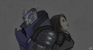 .garrus and shepard by kurokineko